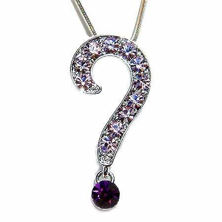 Question Mark Swarovski Purple Crystal Sexy Pendant Necklace