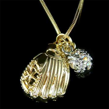 Gold Baseball Glove Ball Team Swarovski Crystal Necklace