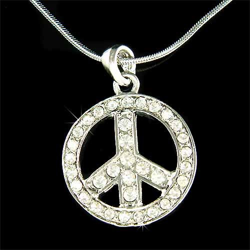 Peace Sign Symbol Big Awareness Boho Swarovski Crystal Necklace