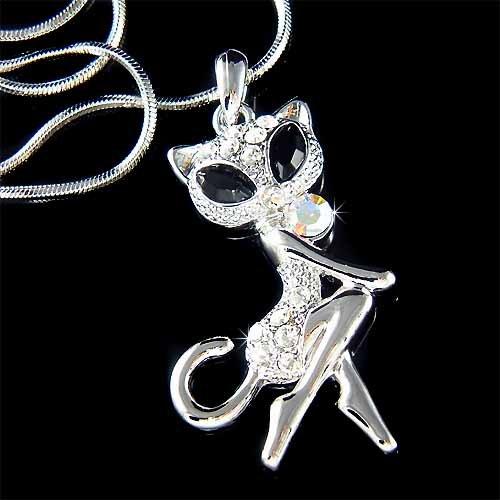 Animal Lover Pussy Sexy Cat Swarovski Crystal Pendant Necklace