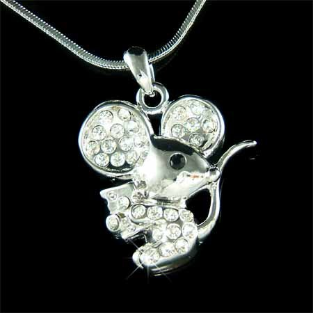 Swarovski Crystal Cute Mouse with Swiss Cheese Pendant Necklace