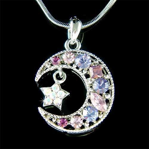 Purple Swarovski Crystal Crescent Moon Star Pendant Necklace