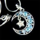 Swarovski Crystal Crescent Blue Moon Star Pendant Necklace