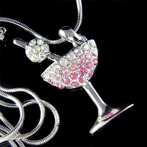 Pink Happy Hour Swarovski Crystal Martini Glass Cherry Necklace