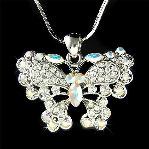 Bridal Wedding Swarovski Crystal Butterfly Pendant Necklace