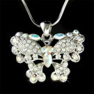 Bridal Wedding Swarovski Crystal Butterfly Pendant Necklace