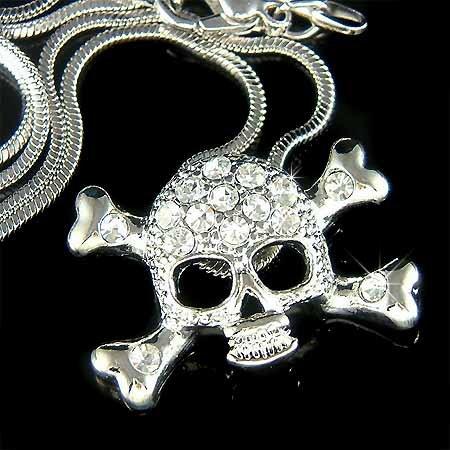 Hip Hop Swarovski Crystal Danger Skull Crossbones Necklace