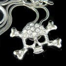 Hip Hop Swarovski Crystal Danger Skull Crossbones Necklace