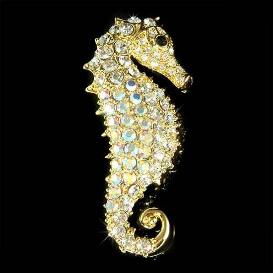 Gold Elegant Beach Wedding Swarovski Crystal Seahorse Brooch