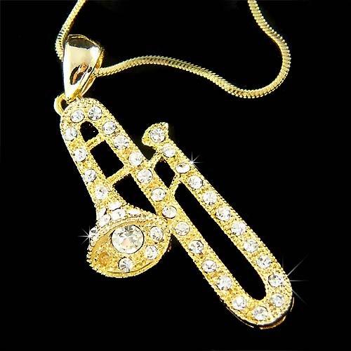 Gold Swarovski Crystal Musical Band Trombone Trumpet Necklace