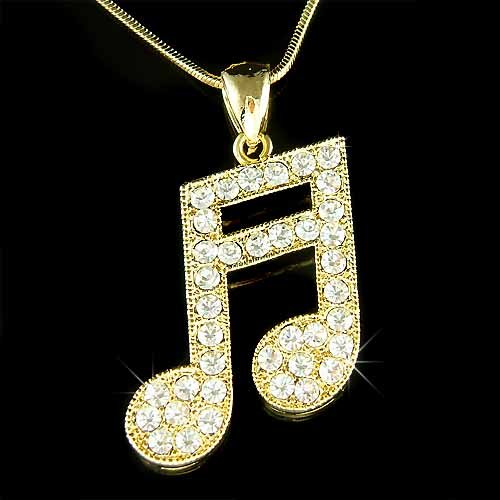 Gold Musical Swarovski Crystal Sixteenth Music note Necklace