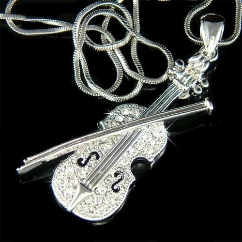 Swarovski Crystal Musical Instrument Violin with Bow Necklace
