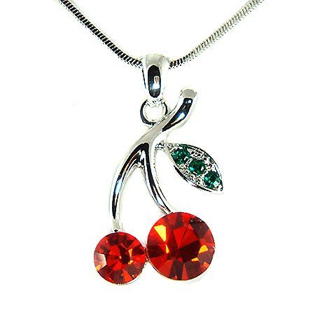 Juicy Sexy Hot Red Swarovski Crystal Cherry Pendant Necklace