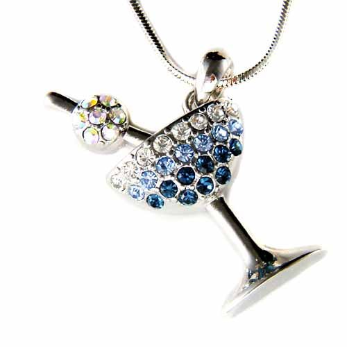 Swarovski Crystal Cherry Martini Glass Party Pendant Necklace