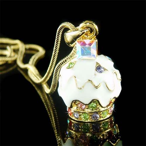 Juicy Swarovski Crystal White Cream Cupcake Pendant Necklace