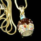 Juicy Swarovski Crystal Chocolate Yummy Cupcake Pendant Necklace