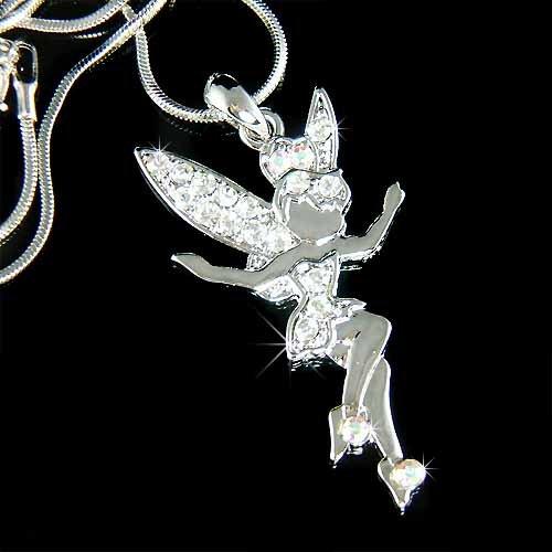 Clear Fairy Angel Swarovski Crystal Pixie Tinkerbell Necklace