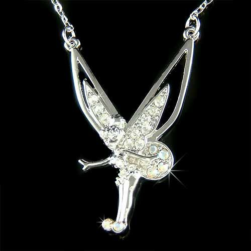Pixie Fairy Angel Swarovski Clear Crystal Tinkerbell Necklace