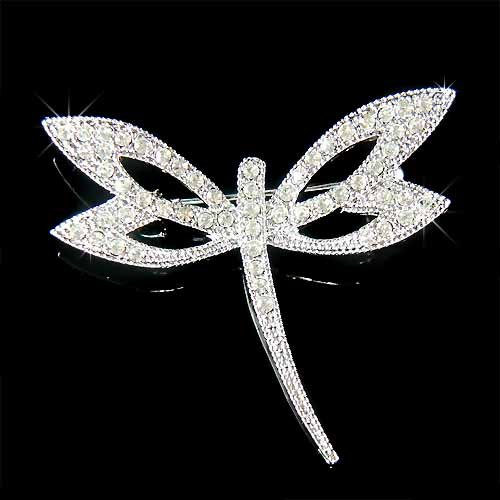 Clear Bridal Wedding Swarovski Crystal Dragonfly Brooch