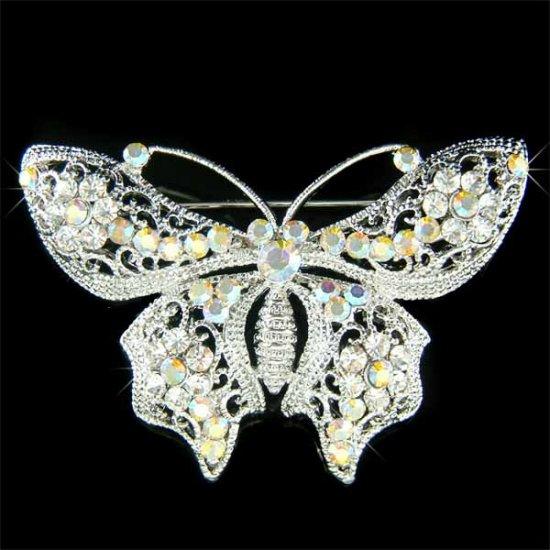 Bridal Wedding Filigree Swarovski Clear Crystal Butterfly Brooch