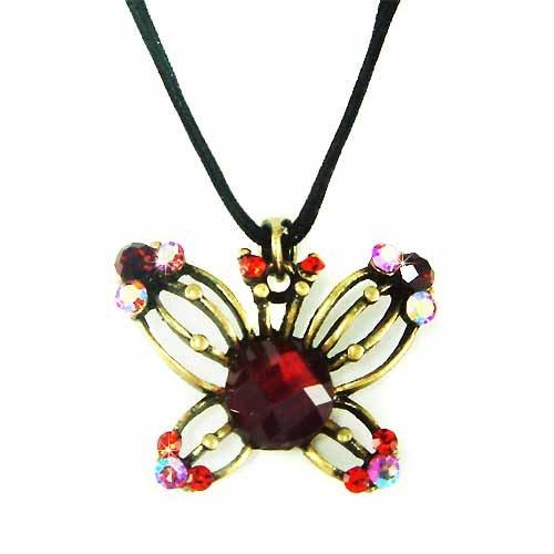 Brass Antique Red Swarovski Crystal Butterfly Velvet Necklace