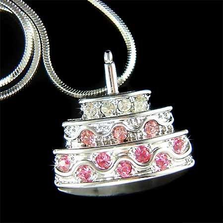 Swarovski Crystal Happy First Birthday Anniversary Cake Necklace