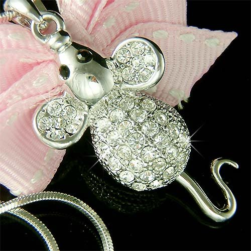Cute Swarovski Crystal Mouse with Dangle Tail Pendant Necklace