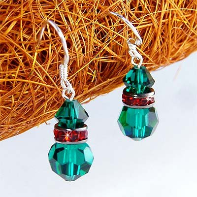 X'mas Holiday Emerald Swarovski Crystal Sterling Silver Earrings