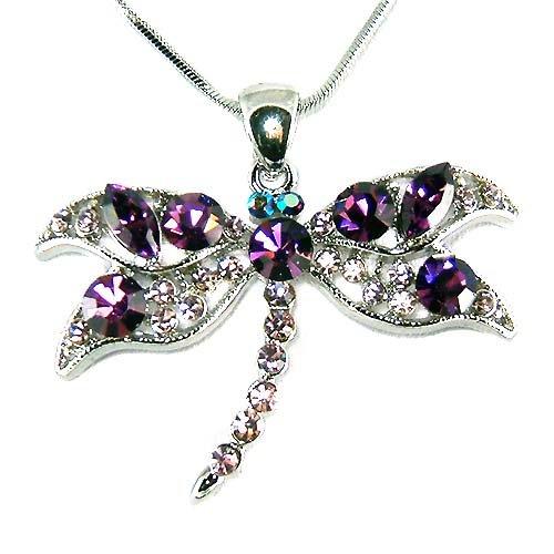 Classy Swarovski Purple Dragonfly Crystal Pendant Chain Necklace