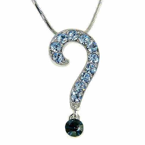 Swarovski Pave Crystal Celebrity Question Mark Pendant Necklace