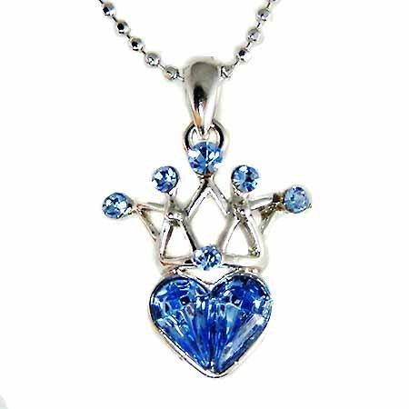 Swarovski Sapphire Crystal Queen Crown Heart Pendant Necklace
