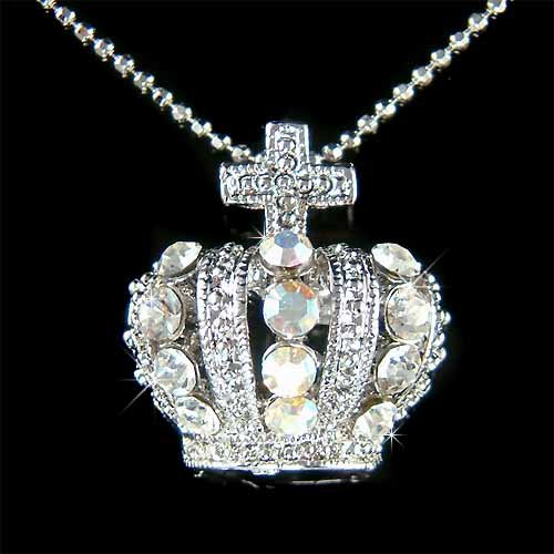 Celebrity Bridal Swarovski Crystal Crown Cross Pendant Necklace