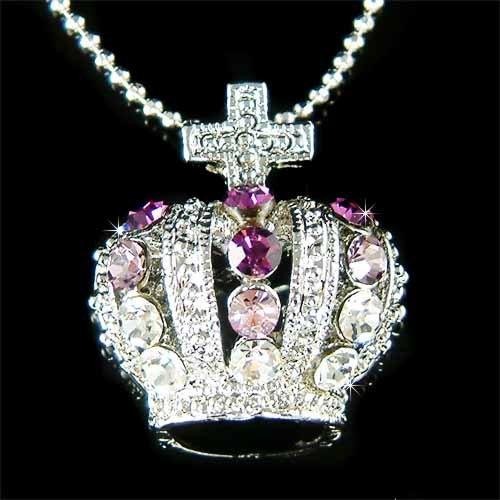 Purple Celebrity Swarovski Crystal Crown Cross Pendant Necklace