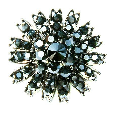 Black Swarovski Crystal Flower Cluster Bridal Starburst Brooch