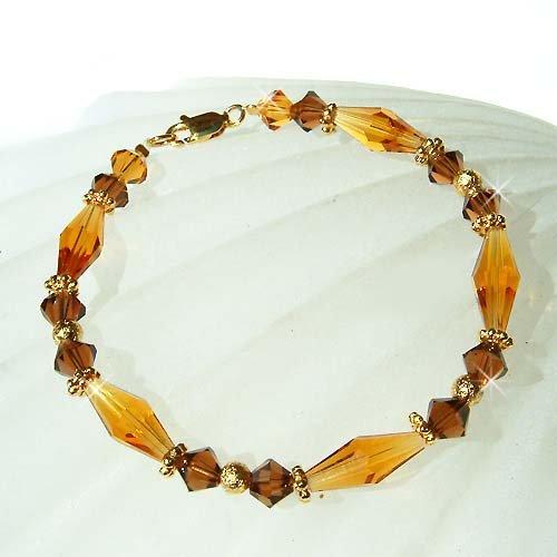 Elegant Topaz Swarovski Crystal 22K Gold Vermeil Bracelet