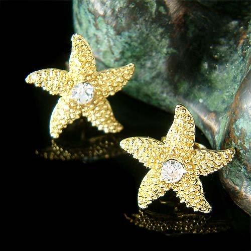 Swarovski Crystal Gold Starfish Earrings for Beach Wedding