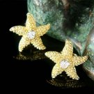 Swarovski Crystal Gold Starfish Earrings for Beach Wedding