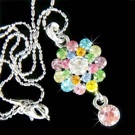 Swarovski Crystal Rainbow Floral Flower Pendant Chain Necklace