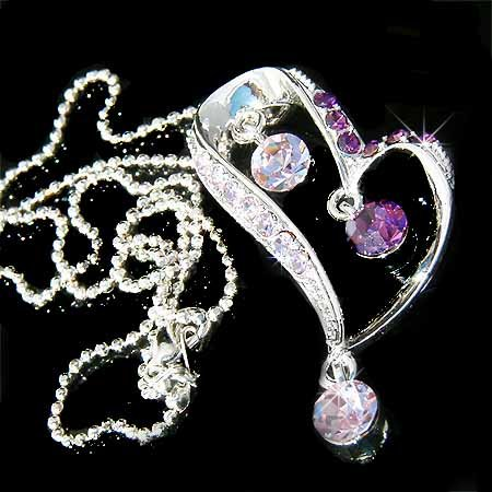 Swarovski Crystal Purple Heart Drop Pendant Chain Necklace