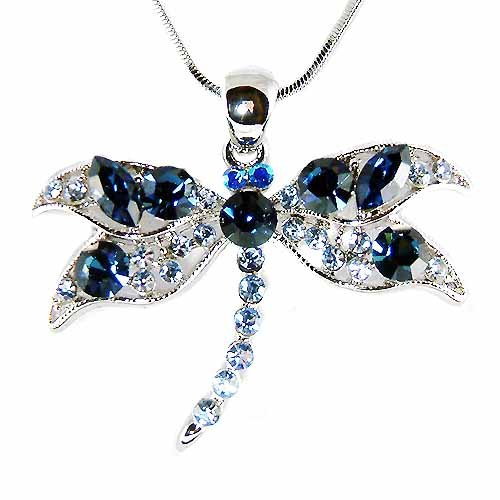 Something Blue Swarovski Crystal Cute Dragonfly Pendant Necklace