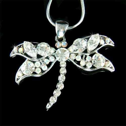 Bridal Wedding Swarovski Crystal Dragonfly Pendant Necklace