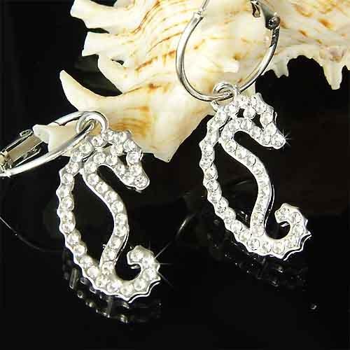 Swarovski Crystal Beach Wedding Wildlife Seahorse Charm Earrings