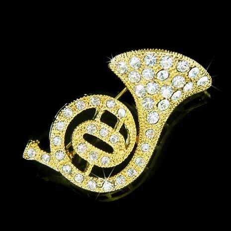 Gold Swarovski Crystal Musical Instrument French Horn Brooch