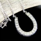 Western Bride Swarovski Crystal Wild Horseshoe Charm Necklace