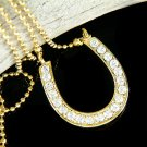 Western Bride Swarovski Crystal Gold Horseshoe Charm Necklace