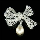Swarovski Crystal Cream White Pearl Bow Brooch for Wedding Dress