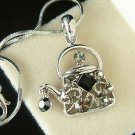 Black Swarovski Crystal Tea Party Teapot Pendant Necklace