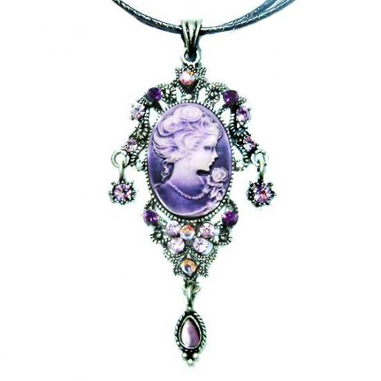 Victorian Purple Swarovski Crystal Cameo Leather Necklace