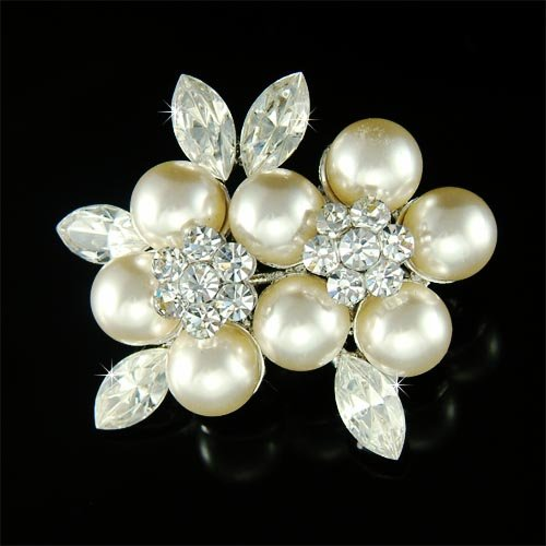Elegant Swarovski Crystal and Pearl Flower Brooch for Wedding