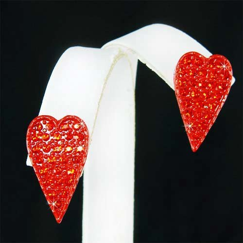 Valentine Gift Swarovski Crystal Hot Red Heart Stud Earrings